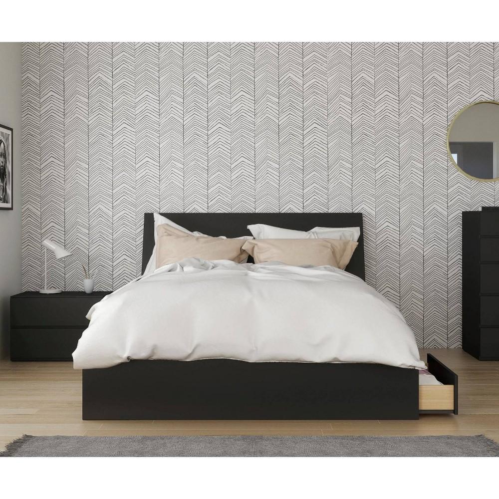 Image of 3pc Queen Epik Bedroom Set with Headboard Extension Panels Black - Nexera