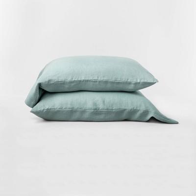 Standard 100% Washed Hemp Solid Pillowcase Set Sage Green - Casaluna™