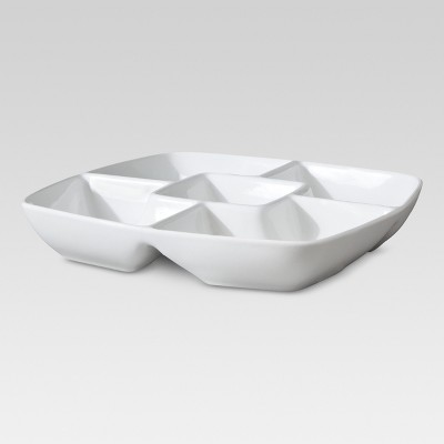 Square Porcelain Divided Serving Platter 11.5  White - Threshold™