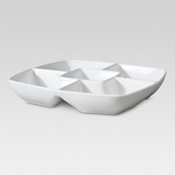 "Square Porcelain Divided Serving Platter 11.5"" White - Threshold™"