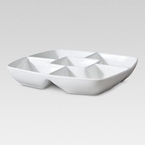 "Square Porcelain Divided Serving Platter 11.5"" White - Threshold™ - image 1 of 1"