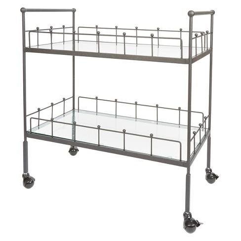 Fitz 2-Tier Rectangular Bar Cart - Silverwood - image 1 of 4