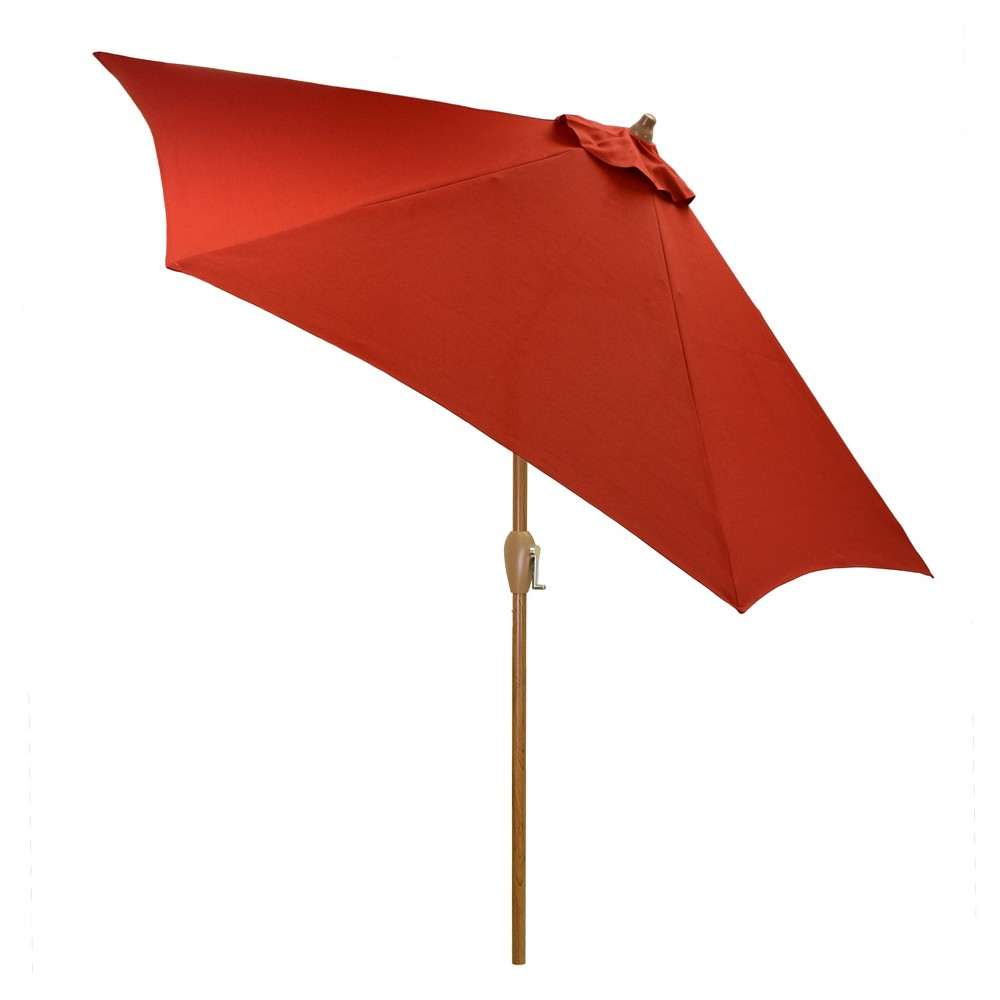 9' Round Umbrella - Red -Wood Pole - Threshold