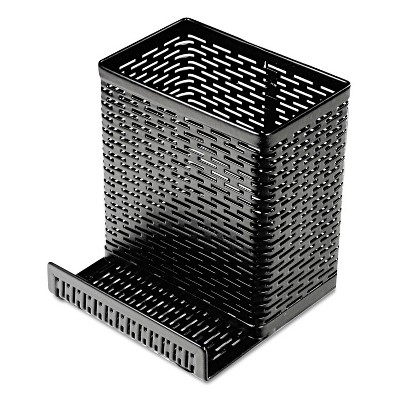 Artistic Urban Collection Punched Metal Pencil Cup/Cell Phone Stand 3 1/2 x 3 1/2 Black ART20014