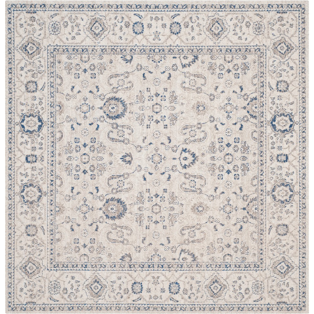 4'X4' Floral Loomed Square Area Rug Light Gray/Ivory - Safavieh