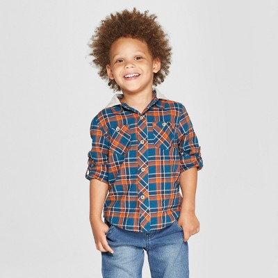 Genuine Kids® from Oshkosh Toddler Boys' Plaid Long Sleeve Button-Down Shirt with Hoodie - Teal 2T