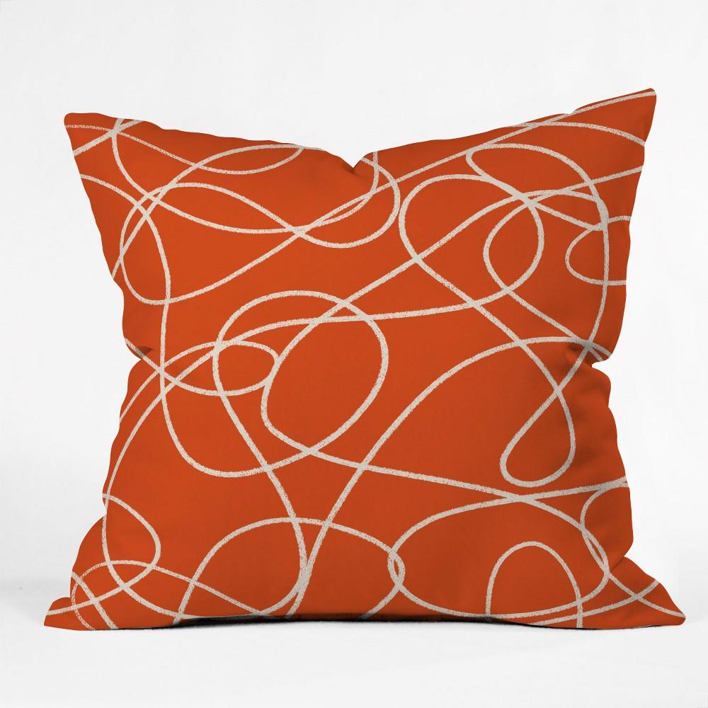 Zoe Wodarz Scribble Up Square Throw Pillow Orange Deny Designs