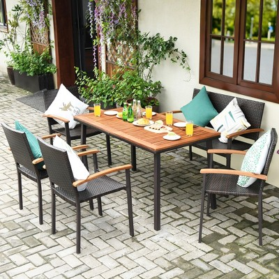 Costway 6 PCS Patio Rattan Dining Set Acacia Wood Table Stackable Chair Bench