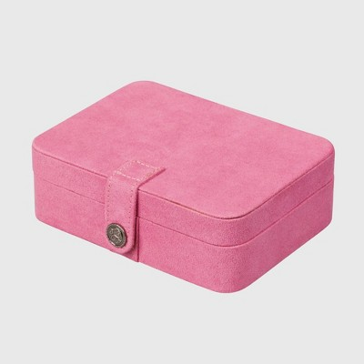 Mele & Co. Giana Women's Plush Fabric Jewelry Box with Lift Out Tray-Pink
