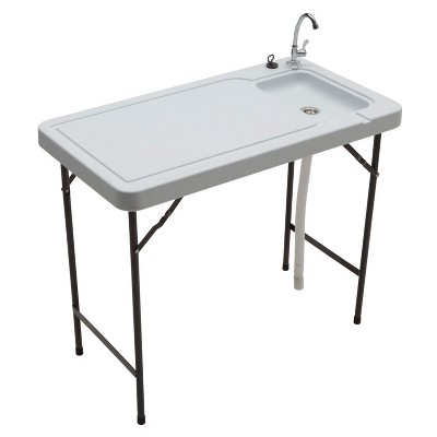 Seek SKFT-44 Outdoor Folding Fish and Game Cleaning Table with Quick Connect Stainless Steel Faucet and Drain Hose for Fishing, Hunting, and Camping