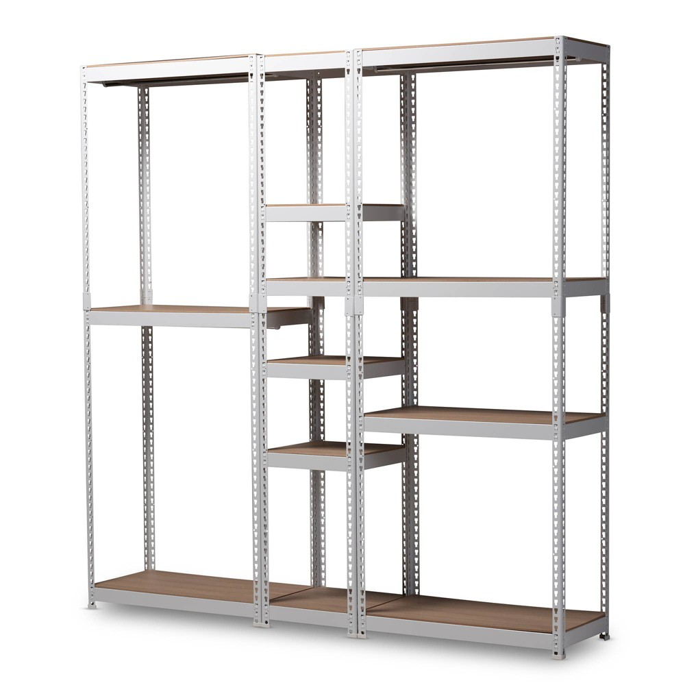 Gavin Metal 10 Shelf Closet Storage Racking Organizer White - Baxton Studio