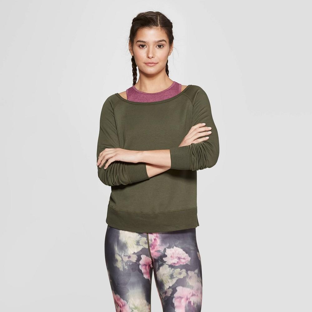 Women's Cozy Layering Sweatshirt - JoyLab Deep Olive Green M
