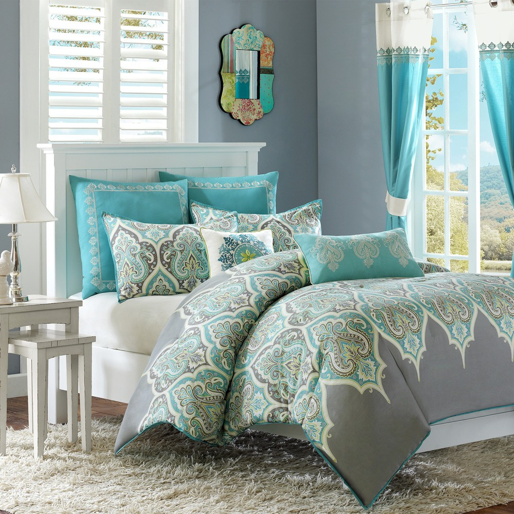 Teal (Blue) Naomi Comforter Set Twin 5pc
