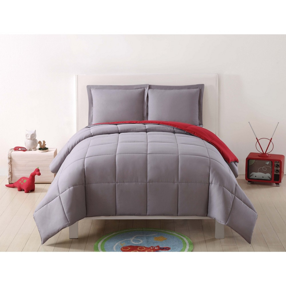 Image of Full/Queen Anytime Solid Comforter Set Gray/Red - My World