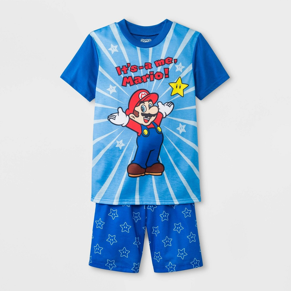 Boys' Nintendo Super Mario 2pc Pajama Set - Blue L