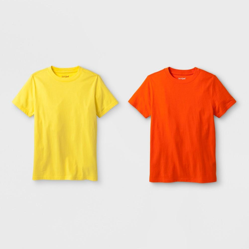 Boys 2pk Short Sleeve T Shirt Cat Jack 8482 Orange Yellow Xxl