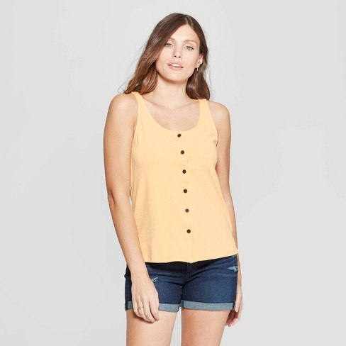 Image result for Women's V-Neck Button Front Knit Woven Tank Top - Universal Thread
