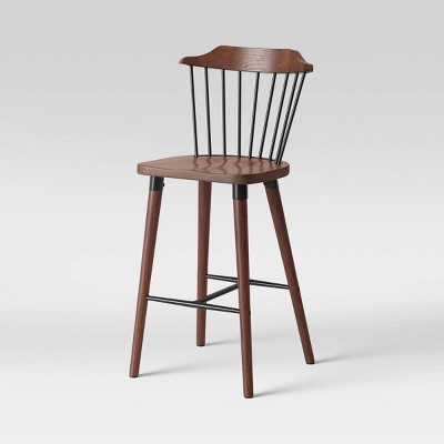 Delway Curved Back Mixed Material Counter Height Barstool Walnut - Threshold™
