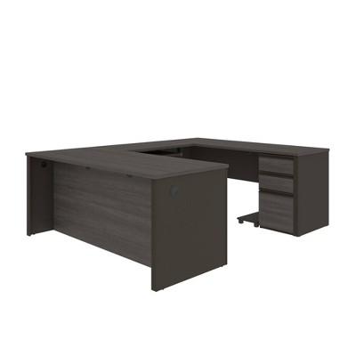 Prestige + WoodU ShapeComputer Desk with Storage - Bestar