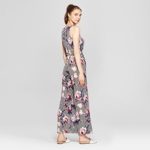 3fb00da34cb3 Women s Floral Print V-Neck Jumpsuit - Love   First Sight (Juniors ) Black White    Target