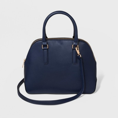 Triple Compartment Dome Satchel Handbag - A New Day™ Navy