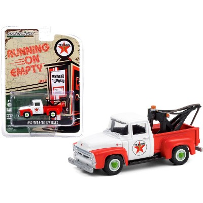 """1956 Ford F-100 Tow Truck """"Texaco Filling Station"""" Red and White """"Running on Empty"""" Series 12 1/64 Diecast Model by Greenlight"""