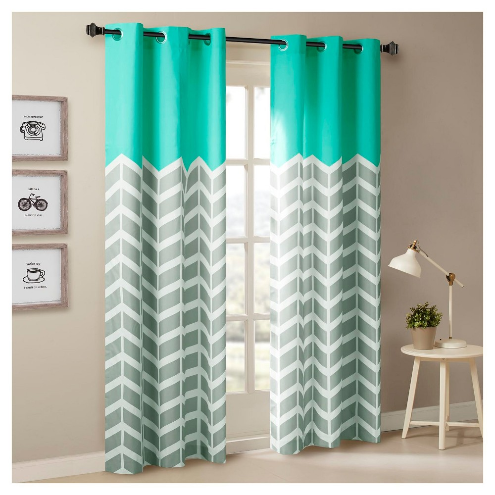 Set Of 2 42x84 34 Elaine Chevron Printed Grommet Top Curtain Panel Aqua