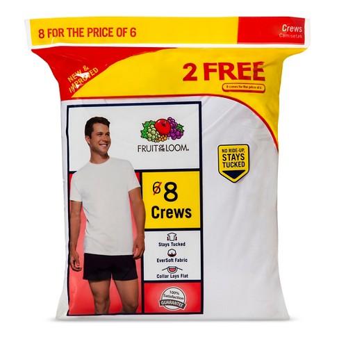 f05344d15af4e9 Fruit Of The Loom® Men s 6+2pk Crew Undershirt - White XL   Target