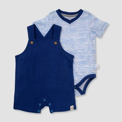 Burt's Bees Baby® Boys' Dotted Jacquard Overalls and Waves Bodysuit Set - Dark Blue 6-9M