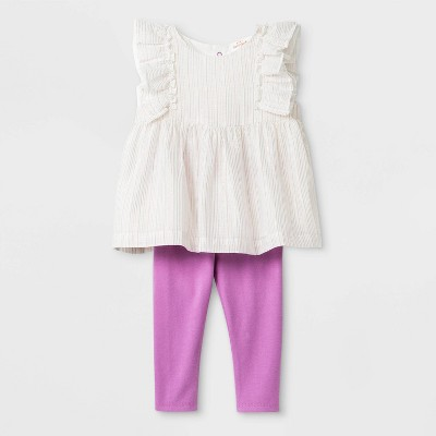Baby Girls' Tunic Top And Bottom Set - Cat & Jack™ Cream/Purple 6-9M