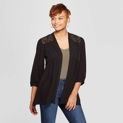 ca7f1748e008 Women s Long Sleeve Open-Front Kimono Jacket - Knox Rose™ Black
