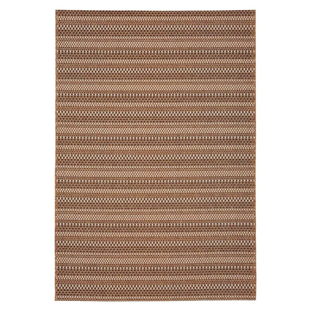 Image of Edgeman Rectangle 5'X7' Indoor/Outdoor Patio Rug - Black / Natural - Balta Rugs, Brown