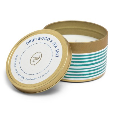 4.8oz Printed Tin Candle Driftwood & Sea Salt - Fresh Collection - Opalhouse™