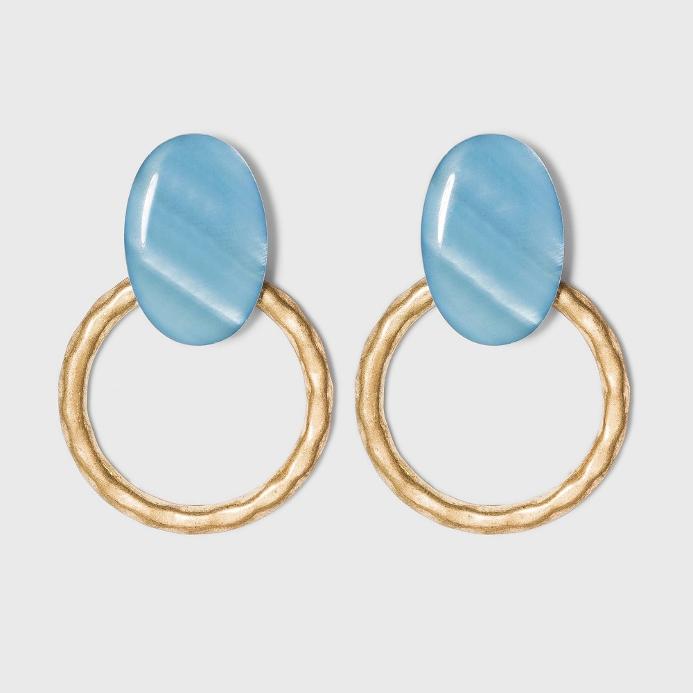 Shell And Hammered Metal Open Circle Drop Earrings A New Day 8482 Blue