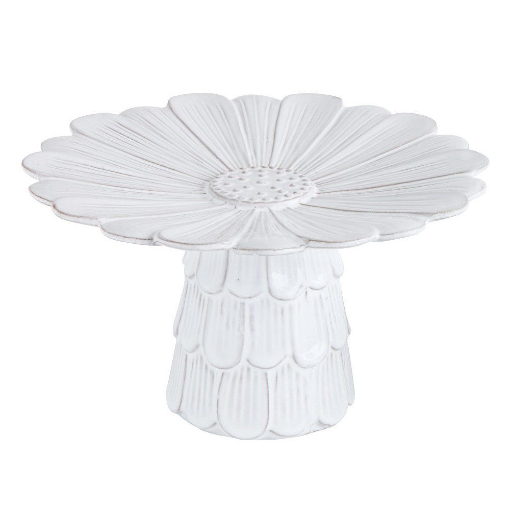 "Image of 10.5"" x 5.75"" Terracotta Flower Shaped Cake Pedestal White - 3R Studios"