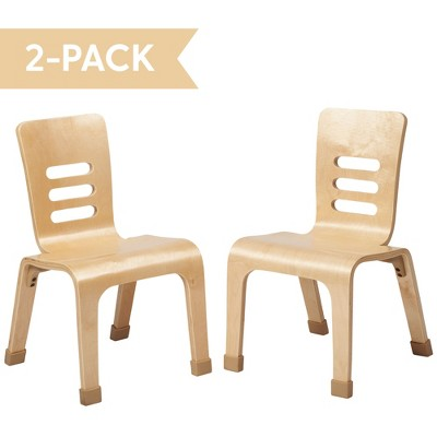 ECR4Kids Bentwood School Stacking Chair for Students, Natural Wood Finish (2-Pack)