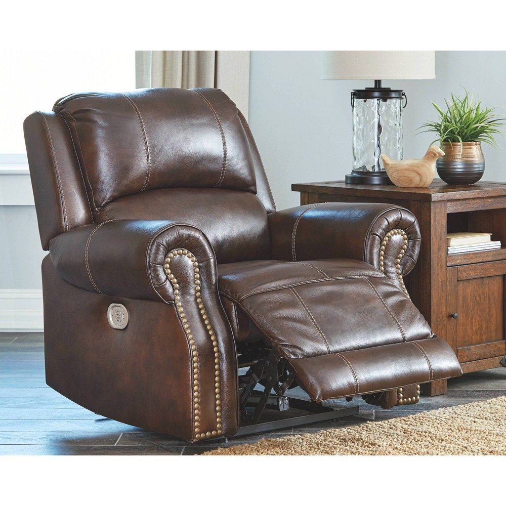 Buncrana Power Recliner with Adjustable Headrest Chocolate Brown - Signature Design by Ashley