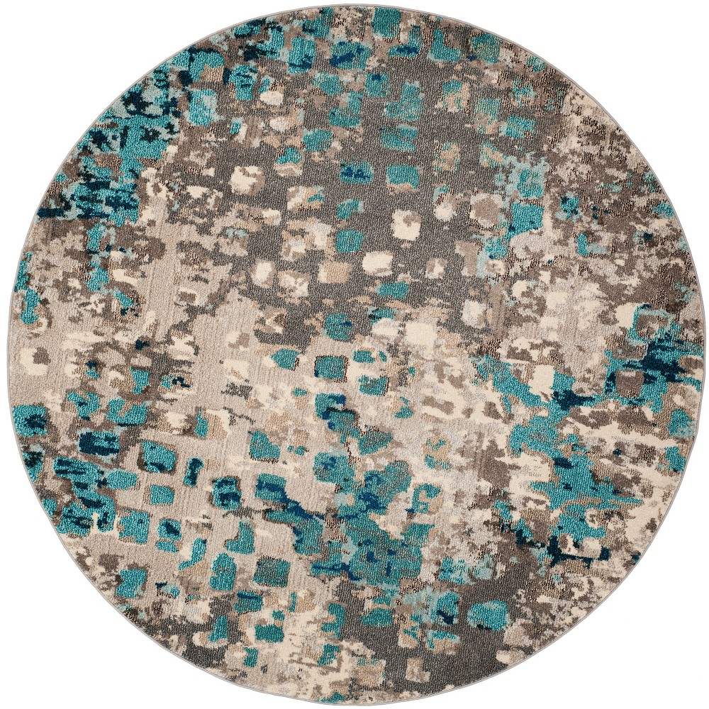 3' Shapes Round Accent Rug Gray/Light Blue - Safavieh