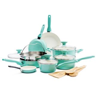 GreenPan Rio 16pc Cookware Set Turquoise