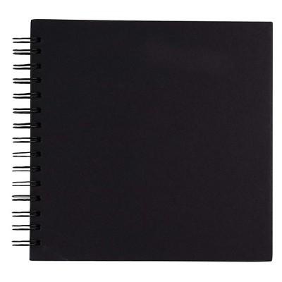 "Hardcover Scrapbook, Photo Album, Square Spiral Bound for DIY Craft, Wedding Guest Book, Black, 8""x8"""