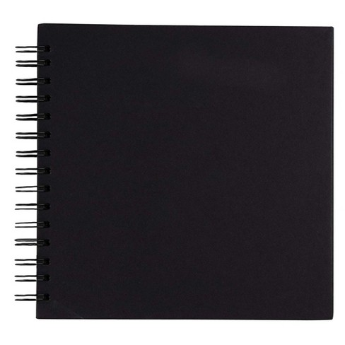 "Hardcover Scrapbook, Photo Album, Square Spiral Bound for DIY Craft, Wedding Guest Book, Black, 8""x8"" - image 1 of 4"