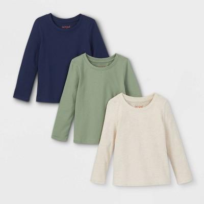 Toddler Girls' 3pk Long Sleeve T-Shirt - Cat & Jack™ Olive Green/Cream/Navy