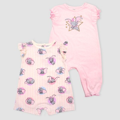 Baby Girls' Disney Dumbo 2pk Rompers - Pink 3-6M