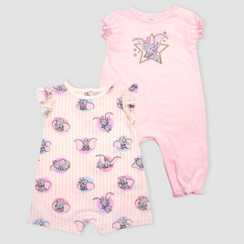 12b2a6d5b Baby Girls  Disney Dumbo 2pk Rompers - Pink   Target
