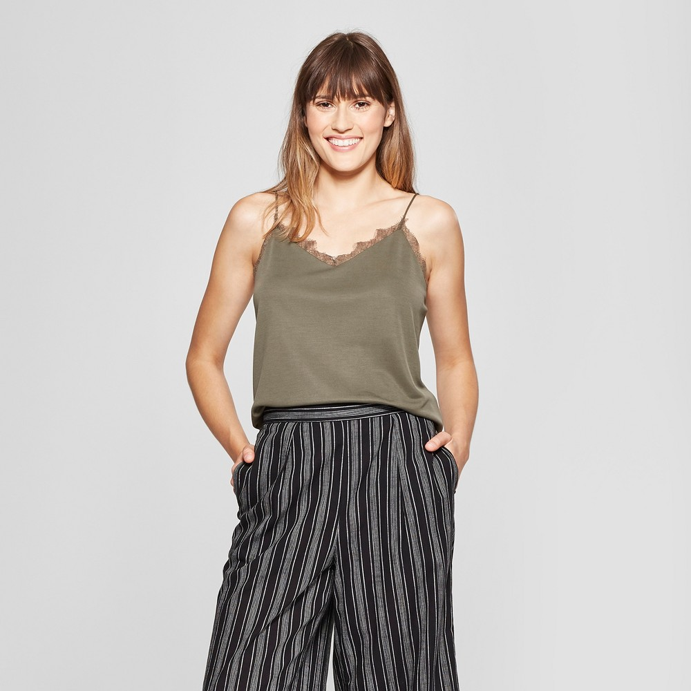 Women's Lace Cami - A New Day Olive (Green) L