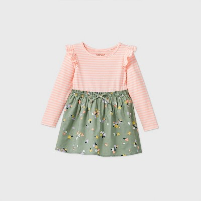 Toddler Girls' Floral Long Sleeve Dress - Cat & Jack™ Army Green 2T