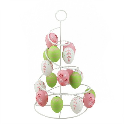 """Northlight 14.25"""" Floral Cut-Out Spring Easter Egg Tree Decoration - Pink/Green"""