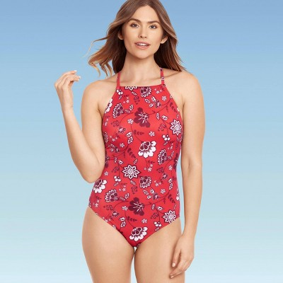 Women's Slimming Control High Neck One Piece Swimsuit - Beach Betty by Miracle Brands Red Floral