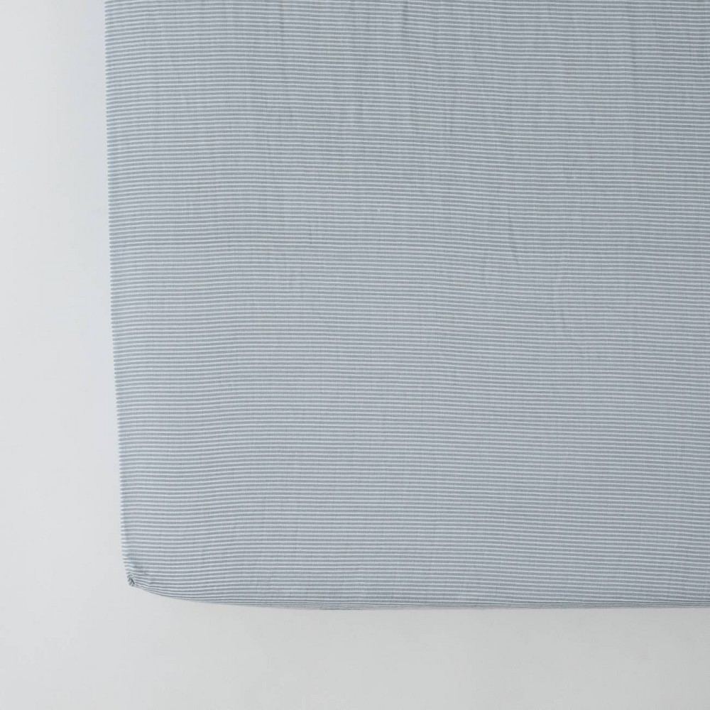 Image of Red Rover Cotton Muslin Crib Sheets - Gray Micro Stripe