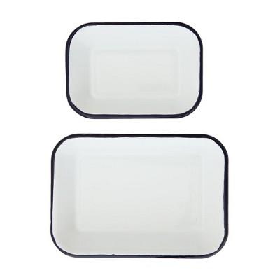 2pc Enameled Serving Tray Set White/Blue - 3R Studios